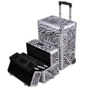Professional Rolling Train Cosmetic Makeup Case Zebra Design