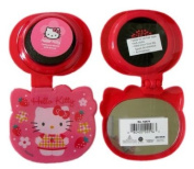 Sanrio Pop-up Travel Hairbrush - Flower & Strawberry Hello Kitty Folding Hair Brush and Compact Mirror