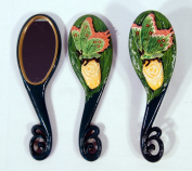 Handpainted Green Butterfly Insect Hair Brush Mirrow Set