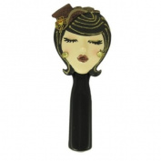 "Stylish Hand Mirror Brunette Wearing Brown Hat ""Kiss Me"" 22.9cm L"