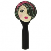 . Hand Mirror Brunette Wearing Fuschia Headband 22.9cm L