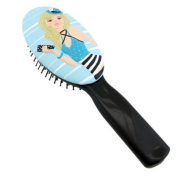 . Hairbrush Blonde Wearing Blue Hat