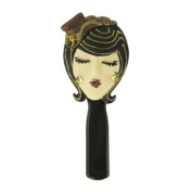 Stylish Hairbrush Brunette with Hat Brown 22.2cm L