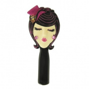 Stylish Hairbrush Brunette with Hat Purple 22.2cm L