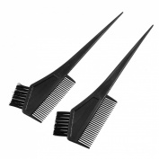 Rosallini 2 Pcs Straight Bristle Black Hair Dye Tint Colour Colouring Brush Comb