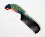 Handpainted Green Parrot Bird Comb