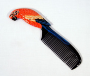 Handpainted Red Parrot Bird Comb