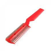 Rosallini Metal Razor Blade Plastic Hair Comb Cutter Trimmer Red