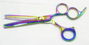 Hasami Rainbow Thinning Shear Double Teeth with 3 Finger Holes 15.2cm K60-R Kathy