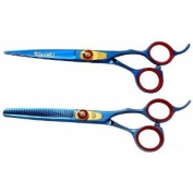 Kissaki Pro Hair Jigane 15.2cm & Na-Kago 35 tooth Blue Titanium Cutting Shears & Thinning Scissors Combo
