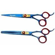 Kissaki Pro Hair Jigane 15.2cm & Na-Kago 35 tooth Blue Titanium Cutting Shears & Thinning Scissors Combo