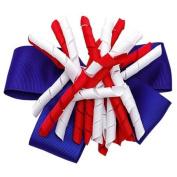 Patriotic Grosgrain Ribbon Korker Girls Hair Barrette