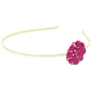 Karina - French Couture Metal Headband with Beaded Flower - Gold/Pink #K10846X1