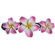 Hawaii Pink Plumeria Flower Poly Clay Barrette BHC13