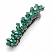 DoubleAccent Hair Jewellery Medium Crystal Flower Barrette Deep Green Colour