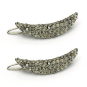 DoubleAccent Hair Jewellery Small Curved Crystal Barrette Set Of Two Black Colour