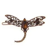 Dragonfly Copper Tone Barrette