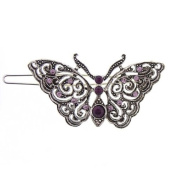 Silver tone Amethyst Colour Butterfly Barrette