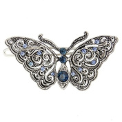 Silver tone Filigree Blue Butterfly Wire Barrette