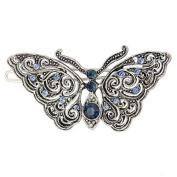 Silver tone Filigree Blue Butterfly Wire Barrette