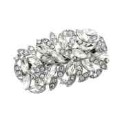 Bridal Wedding Jewellery Crystal Navette Wide Sparkle Hair Barrette Clip Silver
