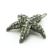 DoubleAccent Hair Jewellery Small Crystal Starfish Barrette Black Colour