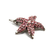 DoubleAccent Hair Jewellery Small Crystal Starfish Barrette Pink Colour