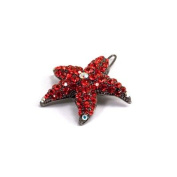 DoubleAccent Hair Jewellery Small Crystal Starfish Barrette Red Colour