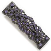 Purple Hematite Tone Rhinestone Barrette