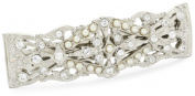 1928 Bridal Silver Tone Crystal Simulated Freshwater Pearl Barrette