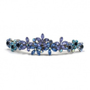 DoubleAccent Hair Jewellery Contrasting Simulated Crystal Flower Barrette, Blue