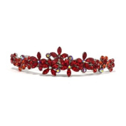 DoubleAccent Hair Jewellery Contrasting Crystal Flower Barrette Red Colour