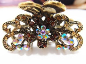 New Fashion Browns Crystal Bronze Metal Alloy flower butterfly hair claws clips pins