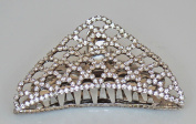 Large Sparkling CZ Metal Hair Claw - Silver