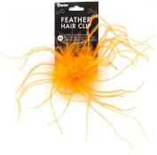 Ostrich Feather Hair Clip 1/Pkg-Orange