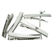 Hair Clips Single Prong Alligator Teeth Barrette Snap Blank Accessories Findings 15 Pieces