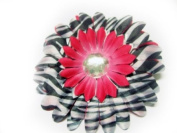 Hot Pink Zebra Print 10.2cm Large Gerbera Daisy Flower Hair Clip Hair Accessories For All Ages