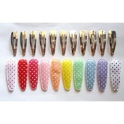 24 Set Assorted Colour Polka Dot Printed Satin Hair Clip Cover and Silver Clip Size 50mm
