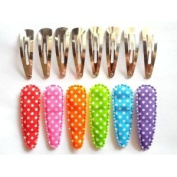 24 Set Mix Colour Polka Dot Cotton Hair Clip Cover and Silver Clip Size 50mm