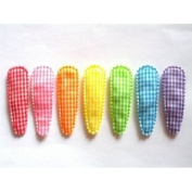 36 Pcs Mix Rainbow Colour Gingham Hair Clip Cover Size 50 Mm