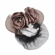 Rosallini Woman Headdress Dot Print Brown Flower Decor Bowtie Embellished Hair Clip