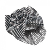 Rosallini Woman Lady Black Striped Bowtie Accent Mesh Hairnet French Clip Hairclip