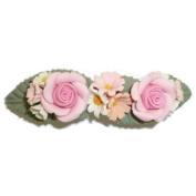 Pink Roses & Daisies Clay Hair Clip