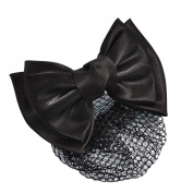 Rosallini Woman Black Polyester Bowknot Accent Barrette Snood Net Hair Clip