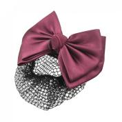 Rosallini Women Burgundy 2-layer Bow Barrette Hair Clip Bun Cover w Snood Net