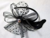 Black Bow and Feather Headband