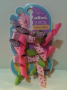 Scunci 2pc. Salon Clips For Small Children Curly Ribbon Pinks, Purple and Green with Polka Dots