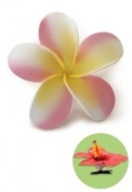 Hawaiian Hair Clip Foam Flower Plumeria Pink & Yellow