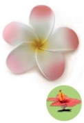 Hawaiian Hair Clip Foam Flower Plumeria Pink, Yellow & White