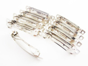 (80) Silver French Barrette Barrettes Clips for Girls Wedding and Bridal Hair Accessories - Barette Hairclip Feather Head Clips Hairpins Wholesale lot 2 Inches 50 mm.